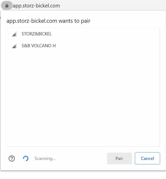 Storz and Bickel Web APP Connecting